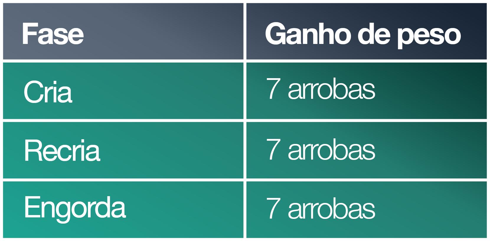 Tabela explicativa dos ganhos do boi 777 na fazenda pecuária